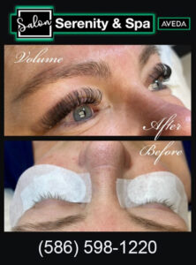 Eyelash extensions, Volume Eyelashe extensions Before and after photoSalon Serenity & Spa
